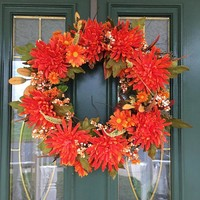 Autumn Wreaths - Fall Front Door Wreaths - Front Door Wreaths - Thanksgiving Wreaths - Orange Wreaths - Fall Wreaths  - Wreaths for Fall