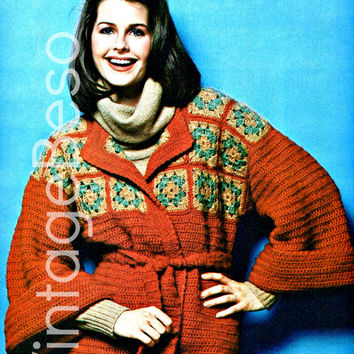 Kimono COAT CROCHET PATTERN Instant Download Pdf Hippie Boho Granny Square Wrap Coat with Belt Sash 1970s Vintage Beso