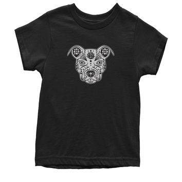 Sugar Skull Pitbull Day Of The Dead Youth T-shirt