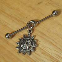 Industrial Barbell - Silver Sun Industrial Barbell - Industrial Piercing