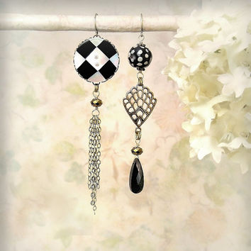 Diametrical - OOAK Asymmetrical Mismatch Earrings, Black and White Earrings, Boho Dangle Earrings, Long Dramatic Earrings, Hipster Earrings