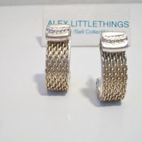 Monet Chain Mesh Half Hoop Earrings Designer Signed Silver Tone Costume Jewelry Fashion Accessories For Her