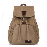 Vintage casual women canvas backpack drawstring