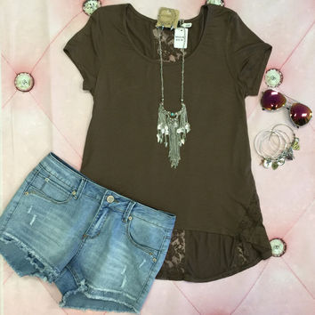 Little Lace Detail Top: Chocolate