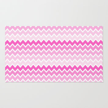 Pink Ombre Chevron Area & Throw Rug by decampstudios