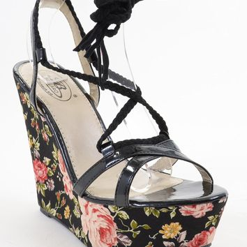 Braided Floral Strappy Black Wedge Sandal Women's Vegan Shoes