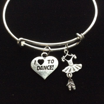 Love to Dance Silver Adjustable Expandable Wire Bangle Charm Bracelet Ballet Teacher Gift