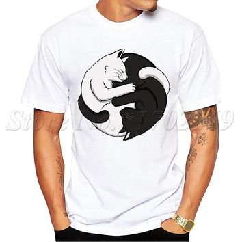 Yin Yang Cats Design 2016 Newest Men t-shirt Summer Fashion White & Black Cat Hug Printed Tee Shirts Short Sleeve Hipster Tops