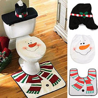 3pcs/set Snowman Toilet Seat Cover & Rug Bathroom Set Christmas Decorations For Home Christmas Ornament 1510CQA01403