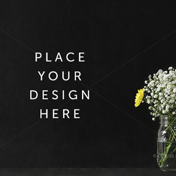 Styled Stock Photography - Product Presentation - Hero Header Image -  Rustic Flower Arrangement on a Clean Chalkboard Desktop Background