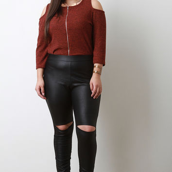 High Waisted Knee Slits Vegan Leather Leggings