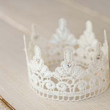 White Lace Newborn Crown, Photography Prop, Swarovski Crystals