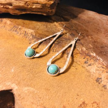 Hammered Silver Earrings with Turquoise