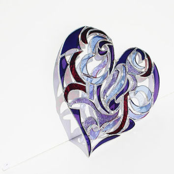 Stained Glass Heart Suncatcher Window Ornament in an Intricate Tribal Motif Mothers Day Wedding Gift Bride Groom Anniversary Gift