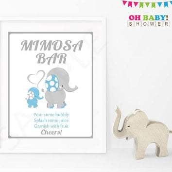 Mimosa Bar Baby Shower Sign Blue Gray Elephant Printable Boy Instant Download Baby Decor Baby Shower Table Sign 8x10 Mimosa Sign ELLBG