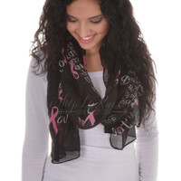 Believe Peace Life Pink Ribbon Scarf
