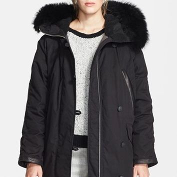 Women's rag & bone 'Coldweather' Leather Trim Parka with Genuine Raccoon Fur Trim Hood