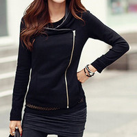 Black Long Sleeves Zippered Jacket