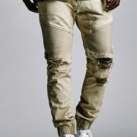 Bullhead Denim Co. Destroyed Moto Skinny Jogger Pants - Mens Pants - Tan
