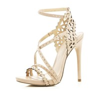 Light pink laser cut stiletto sandals - heels - shoes / boots - women