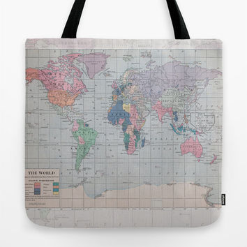 World Map Tote Bag, travel theme tote, everything bag, allover print, gift for mom, beach bag, travel bag, blue
