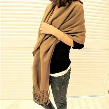 High Quality Fashion Winter Scarf Women Spain Desigual Scarf Solid Thick Brand Shawls and Scarves for Women S002-khaki