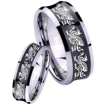 His Her Black Concave Multiple Dragon Two Tone Tungsten Wedding Rings Set