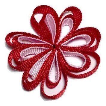 "Red & pink 2"" grosgrain flower bow embellishment"