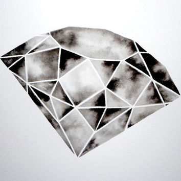 Geometric Diamond III  Original Watercolor by GeometricInk on Etsy