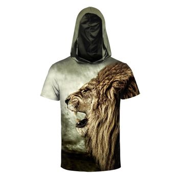 Summer Lion Printed Hooded T shirt - Men's Crew Neck Hoodie