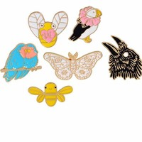 Enamel Pins Butterfly Bees Birds Animal Brooch Collection Enamel Jewelry