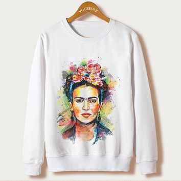 2017 New Sale Sudaderas Mujer Casual Frida Kahlo Print Hoodies Women Clothing O-neck Sweatshirt Sleeve Harajuku Pullover Hoody