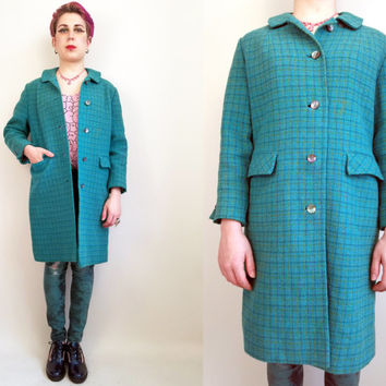 60s Clothing Long Wool Coat Blue Plaid Green Plaid Winter Coat Warm Winter Coat Size Funky Cool Vintage 60s Coat Medium Large Made in USA