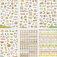 Funny Cat Diary Decoration Stickers Colorful Cute Cartoon Cat Stickers / Label