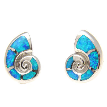 925 Sterling Silver Rhodium Hawaiian Nautilus Shell Blue Opal Post Stud Earrings