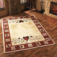 "Hearts Stars & Berries Area Rug 63"" x 90"" Country Rustic Primitive Home Decor"