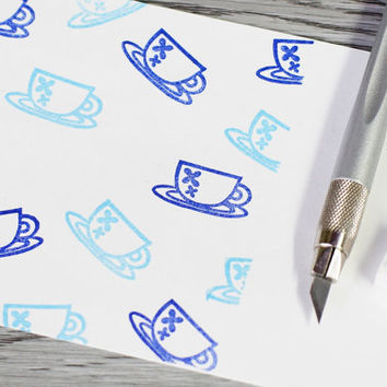 tea cup stamp, afternoon tea stamp, tea time set, hand carved stamp, coffee cup stamp, stationery stamp set, unmounted stamp, cute stamp