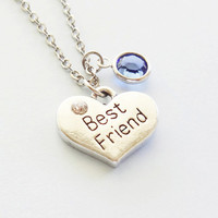 Best Friend Necklace Heart Necklace BFF Friend Birthday Gift Friendship Bridesmaid Gift Silver Jewelry Swarovski Channel Crystal Birthstone