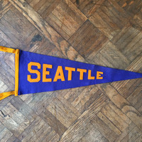 Vintage Seattle Pennant, University Of Washington Pennant Flag, Purple And Gold Wool Felt Pennant