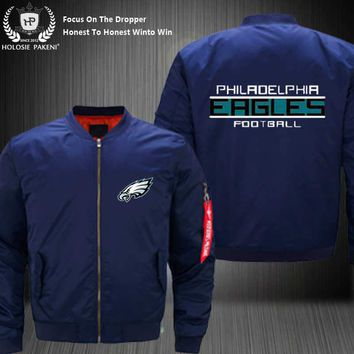 Dropshipping USA Size MA-1 Jacket Football Team Philadelphia Eagles Flight Jacket Costume Design Printed Bomber Jacket made Men