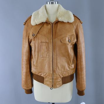 Vintage 1970s Tan Leather Bomber Flight Jacket / Silton California