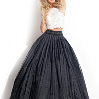 White And Black Long Fitted Prom Dresses 2016 Two Piece Lace Dress For Party Over vestidos de renda longo para festa