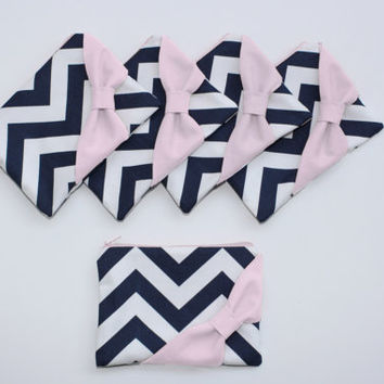 Bridesmaid Gift Set / Bachelorette Favor - Navy Chevron Light Pink Bow - Customizable Wedding Cosmetic Cases - Choose Quantity and Bow Style