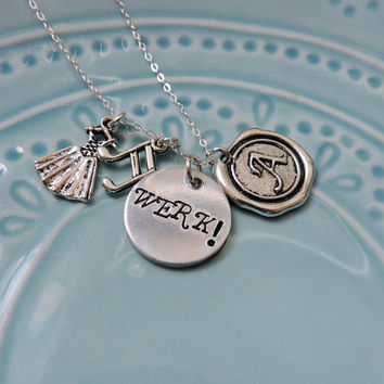 Hamilton Necklace, The Schuyler Sisters, WERK! or WORK! Broadway Musical Lyrics, Angelica, Eliza, Handstamped, Sterling Silver, Gift for Fan