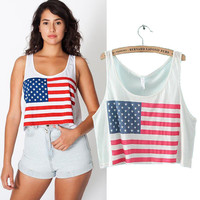 American Flag Print Sleeveless Cropped Top