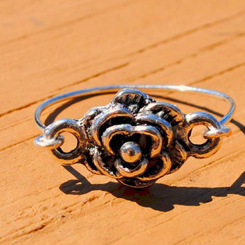 Wire Wrapped Rings Antique Silver Rose Charm by KissMeKrafty