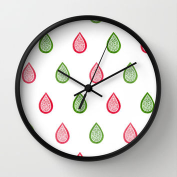 Pink and green raindrops Wall Clock by Savousepate
