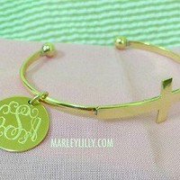 Monogrammed Gold Cross Bracelet | Marley Lilly