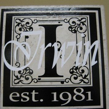 Personalized Initial Last Name and Established Year by VinyleYours
