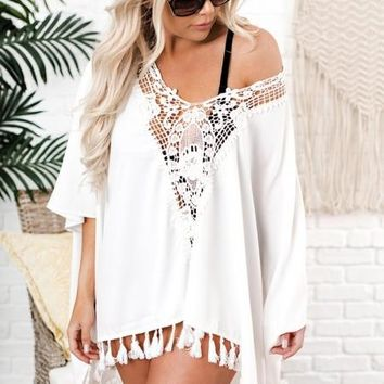 White Got It Covered Crochet Swim Cover up